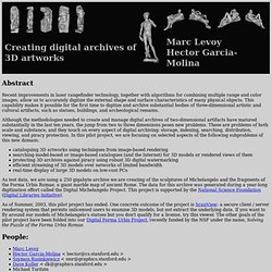 Creating digital archives of 3D artworks