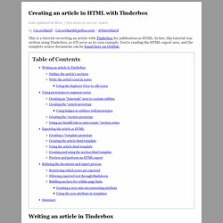 Creating an article in HTML with Tinderbox