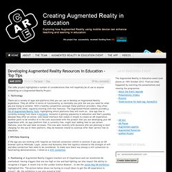 Creating Augmented Reality for Education
