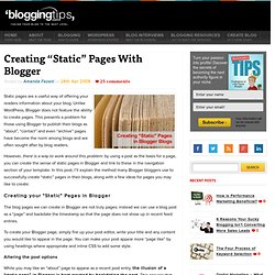 "Creating ""Static"" Pages With Blogger"
