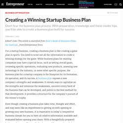Creating a Winning Startup Business Plan - Entrepreneur.com