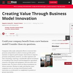 Creating Value Through Business Model Innovation