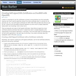 Creating Self-signed SSL Certificates on FreeBSD with OpenSSL - Stan Barber