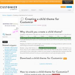 Creating a child theme for Customizr