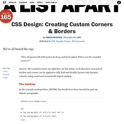 CSS Design: Creating Custom Corners & Bo