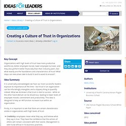 Creating a Culture of Trust in Organizations