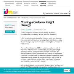 Creating a Customer Insight Strategy