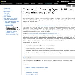 Chapter 11: Creating Dynamic Ribbon Customizations (1 of 2)