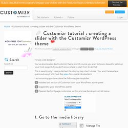 Creating a slider with the Customizr WordPress theme