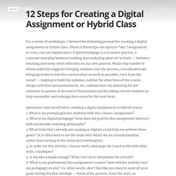 12 Steps for Creating a Digital Assignment or Hybrid Class