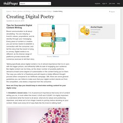 Creating Digital Poetry