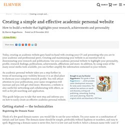 Creating a simple and effective academic personal website