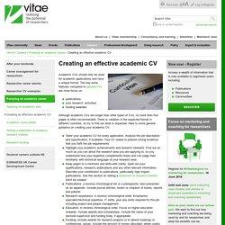 Creating an effective academic CV