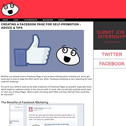 Media Muppet - Creating a Facebook Page for Self-Promotion - Advice & Tips