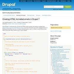 Creating HTML formatted emails in Drupal 7
