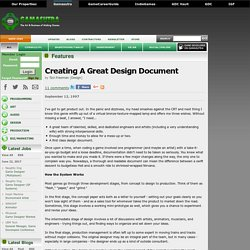 Creating A Great Design Document