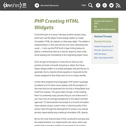 PHP Creating HTML Widgets