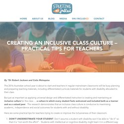 CREATING AN INCLUSIVE CLASS CULTURE – PRACTICAL TIPS FOR TEACHERS - Starting With Julius