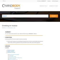 Creating an invoice – MINDBODY, Inc.