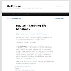Day 16 – Creating life handbook