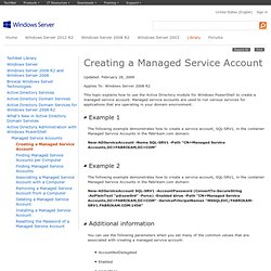 Creating a Managed Service Account
