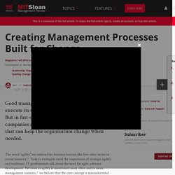 Creating Management Processes Built for Change