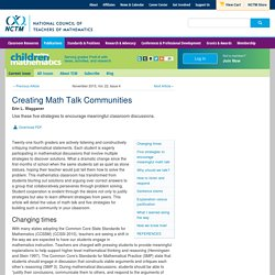 Creating Math Talk Communities