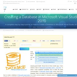Creating a Database in Microsoft Visual Studio 2010