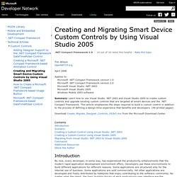 Creating and Migrating Smart Device Custom Controls by Using Visual Studio 2005