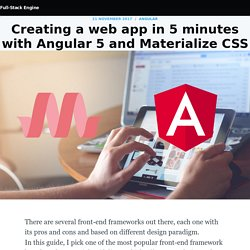 Creating a web app in 5 minutes with Angular 5 and Materialize CSS