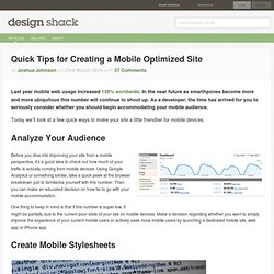 Quick Tips for Creating a Mobile Optimized Site