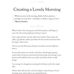 Creating a Lovely Morning