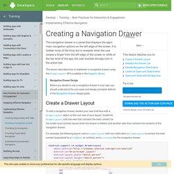 Creating a Navigation Drawer