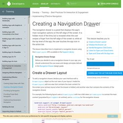 Creating a Navigation Drawer