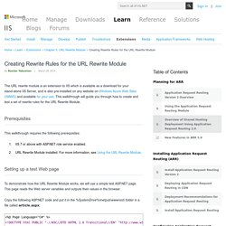 Creating Rewrite Rules for the URL Rewrite Module : The Official Microsoft IIS Site