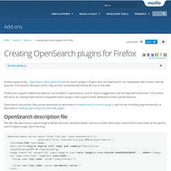 Creating OpenSearch plugins for Firefox