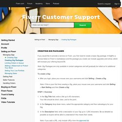 Creating Gig Packages – Fiverr Customer Support