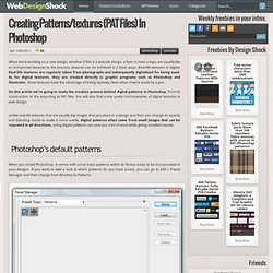 Creating patterns/textures (PAT files) in Photoshop « Design and Development tuts – TutorialShock