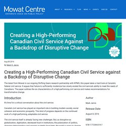 Creating a High-Performing Canadian Civil Service against a Backdrop of Disruptive Change