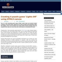 Creating A puzzle game 'Lights Off' using HTML5 canvas
