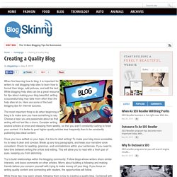 Creating a Quality Blog – blogskinny