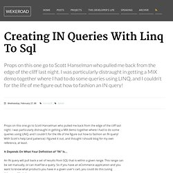 Creating IN Queries With Linq To Sql
