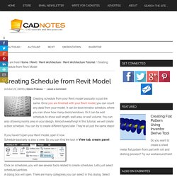 Creating Schedule from Revit Model