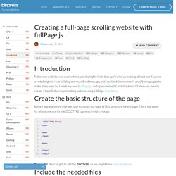 Creating a full-page scrolling website with fullPage.js - Tutorial - Binpress