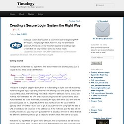 Creating a Secure Login System the Right Way