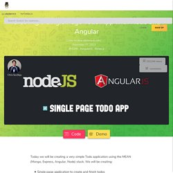 Creating a Single Page Todo App with Node and Angular