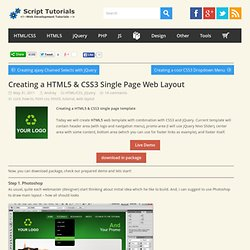 Creating a HTML5 & CSS3 Single Page Web Layout