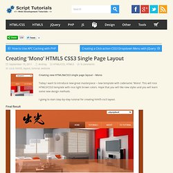 Creating 'Mono' HTML5 CSS3 Single Page Layout