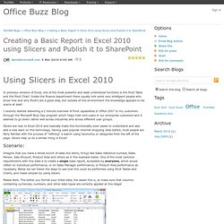 Creating a Basic Report in Excel 2010 using Slicers and Publish it to SharePoint - Office Buzz Blog