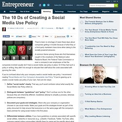 The 10 Ds of Creating a Social Media Use Policy